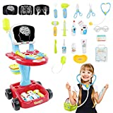 Fajiabao Doctor Cart Kits for Kids Doctors Playset Double-Decker Trolley with Basket Stuffer Stethoscope Syringe Medical Light Up Toys Accessories Role Playing Games for Toddler 3 4 5 Pretend Play