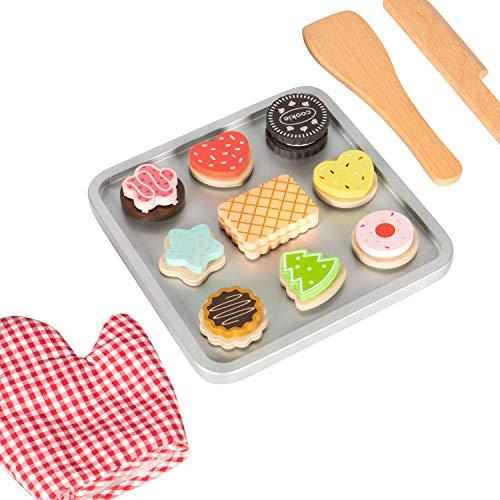 Kledio 4250772366774 Kinder Keks Backset aus Holz FSC 100%, ideale Ergänzung für jede Spielzeug Küche, mehrfarbig