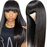 Pelucas humanas pelucas mujer pelo natural humano pelucas largas lisas human hair wigs straight pelucas de pelo humano remy 150% density pelucas con flequillo 18 inch