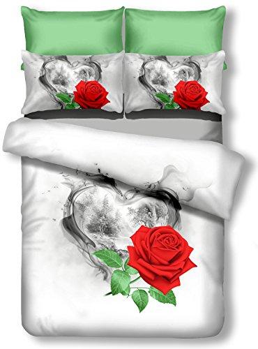 DecoKing Premium 00717Ropa de Cama 135x 200cm, con 1Funda de Almohada de 80x 80Blanco 3D Microfibra edredón de Cama Color Rosa Rose Flores Flores White Rojo Red Verde Green Negro Black Sorrento