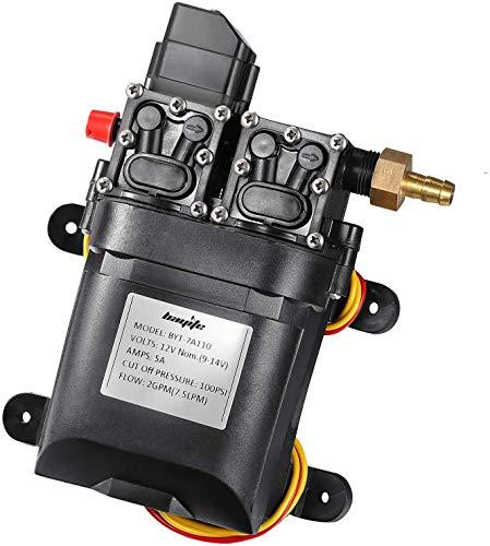 bayite 12V DC Fresh Water Pump 7.5 L/Min 2 GPM 100 PSI Adjustable 12 Volt Diaphragm Pump Self Priming Sprayer Pump with Pressure Switch for RV Camper Marine Boat