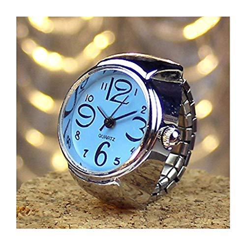 NANSHAN Sfacn 2 Stücke L04 Zifferblatt Quarz Analoguhr Kreative Stahl Coole Elastische Quarz Fingerring Wach Männlich/Weiblich (Color : Blau)