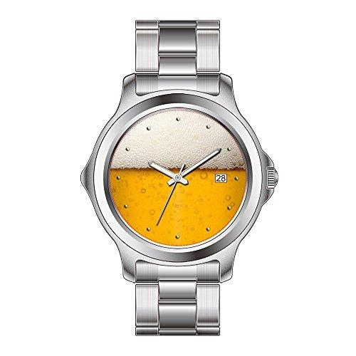FDC Weihnachtsgeschenkuhren Damen Mode Japanische Quarz Datum Edelstahl Armband Uhr Lustige Bier Blasen Armbanduhr