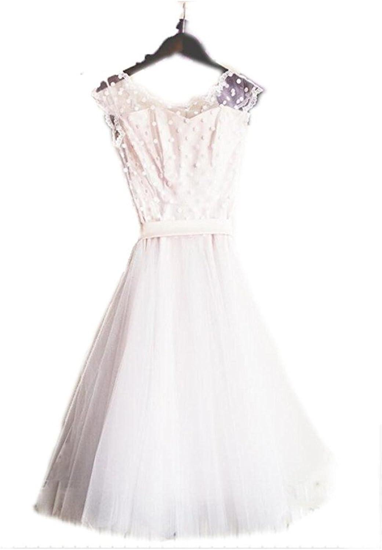 Macria Elegant Sheer Vintage Short Wedding Dress Bride Gown Homecoming Dresses