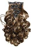PRETTYSHOP XXL Set 8 piezas SET Clip en extensiones La extensión del pelo Un postizo resistente al calor corrugado 60cm medio marrón # 6 CES3-1
