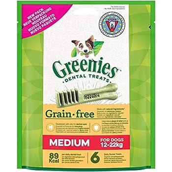 GREENIES Grain Free - Friandises sans céréales pour chien moyen 12-22kg, 12 Sticks dentaires (2 sachets de 170 g)