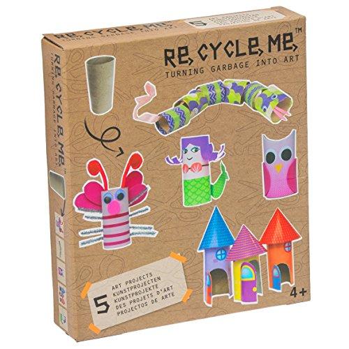 Re Cycle Me DEFG1060 Recycling Bastelspaß für 5 Modelle, Bastelset für 5 Kunstprojekte, Kreativset für Kinder ab 4 Jahre, Set zum Basteln mit Haushaltsmaterialien, Recycle Mich, Bastelmix