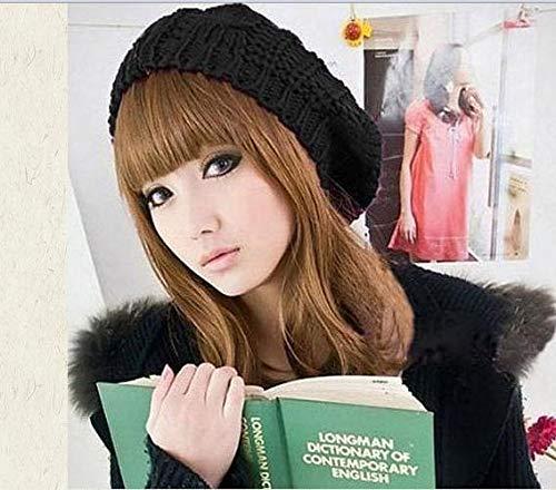 LONGJUAN-C Moda Sombrero de Mujer Moda Mujer Boina Gorra Invierno cálido Crochet Punto Casual Artista francés Gorro Sombrero Gorra Cabeza caída Boinas Clásico (Color : Black)