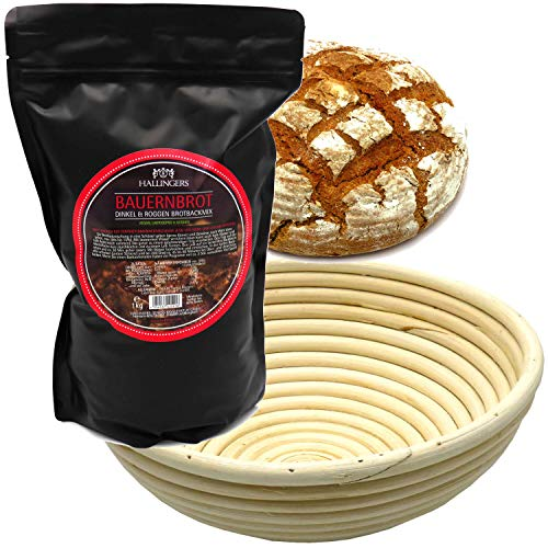 Hallingers Natürliche Brotbackmischung Gärkorb-Set (1.000g) - Set Bauernbrotmix, Backmix und Gärkorb (Aromabeutel) - zu Weihnachten Passt immer