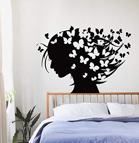 Njuxcnhg Wandbilder Mädchen Schmetterlinge im Haar Wandaufkleber Abnehmbare Haare Schmetterling Wandtattoo Home Room Wandbild 57x41 cm