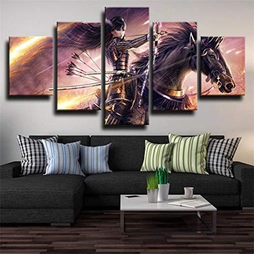 KOPASD Wall Art - Caballo Guerrero de fantasía 5 Piezas Enmarcado Salon,Dormitorio,Baño,Comedor para la decoración Moderna del hogar(Enmarcado Tamaño 200x100cm)