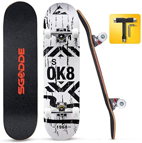SGODDE Skateboard Komplettboard 80x20cm Holzboard mit ABEC-7 Kugellager für Anfänger,31 Zoll 7-lagigem kanadischem Ahornholz und 95A Rollen für Kinder, Jugendliche und Erwachsene Belastung 100kg