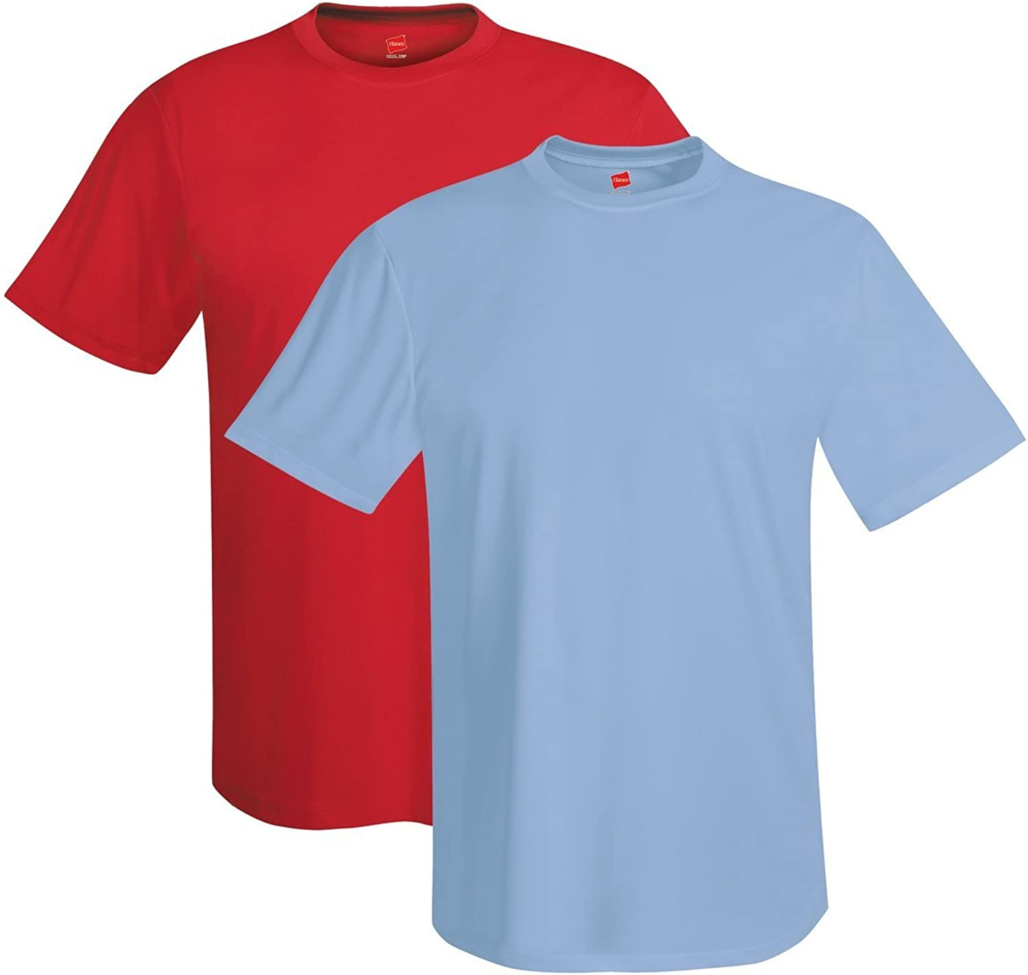 Hanes Men's Short Sleeve Cool DRI T-Shirt UPF 50+, RE LB, XX-Large (Pack of 2)