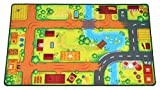 HuggyPlay tappeto da gioco, tappeto per bambini, fantasia fattoria, 90 x 150 cm