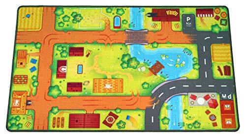 HuggyPlay Spielteppich Kinderteppich, Motiv Bauernhof, 90 x 150 cm