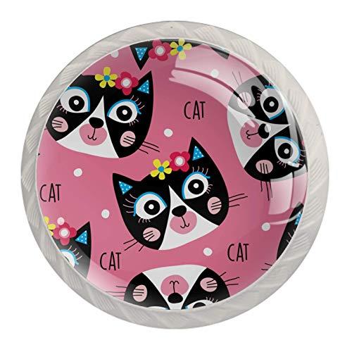 Gatos rosa   Manija moderna de la manija del cajón del armario de impresión minimalista manija de la puerta del armario de cuatro piezas traje