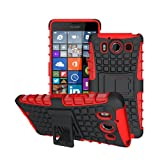 betterfon Microsoft Lumia 950 / Lumia 950 Dual Sim Rot Outdoor Hybrid Hülle Panzer Tasche Cover Silikon Handytasche Hülle SCHUTZ Schutzhülle Bumper +Gratis Bildschirmschutzfolie