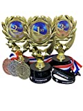 3 Pack Trophies 1st 2nd 3rd Place Champion Victory Winner Trophy Award Kits with Wearable Silicone Wrist Bands Matching Bright Finish Metal Award Medals and Neck Ribbons