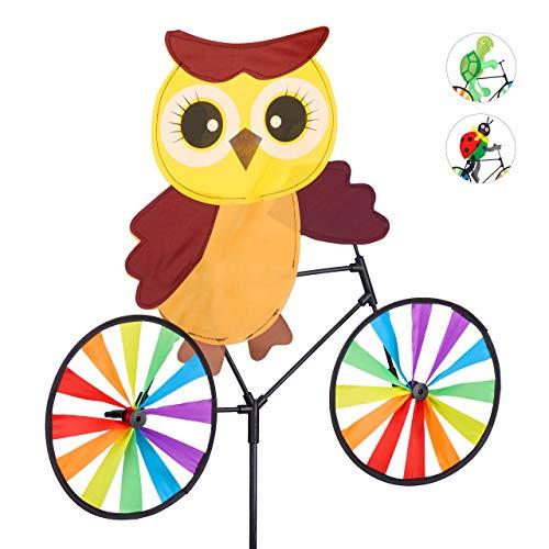 Relaxdays Windrad Eule, Gartenstecker in tierischem Design, Kinder, für Balkon oder Terrasse, 89 cm hoch, Mehrfarbig