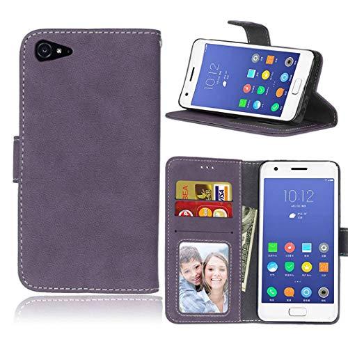 Ycloud Geldbörse Hülle für Lenovo ZUK Z2 Smartphone, Matt Textur PU Leder Magnetisch Flip Handyhülle mit Standfunktion Kartenfächer Entwurf (Lila)