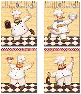 Set of 4 Happy French Chef Kitchen Prints Le Chef Cook by Daphne Brissonnet 8x10