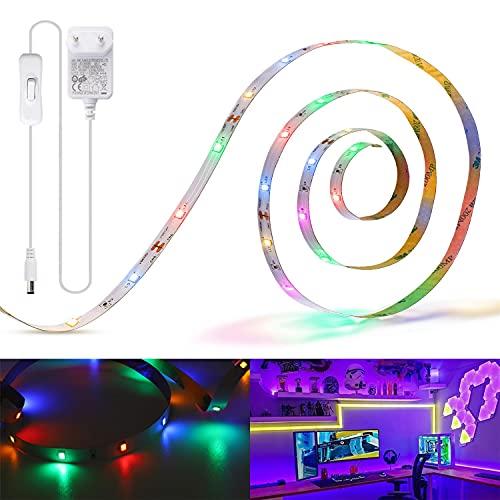 Aigostar - Tira LED 3M, Multicolor Iluminación RGBY con 4 Colores, Tira de Luz LED Autoadhesiva para Decorar e Iluminar el Dormitorio, Salón, Cocina, el Cuarto Infantil