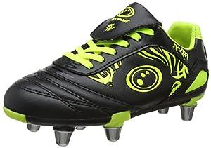 Optimum Unisex Senior Razor Rugby Boots - Black/Fluro Yellow, 12 by Optimum