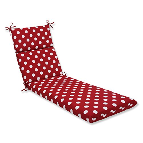 Pillow Perfect Outdoor/Indoor Polka Dot Chaise Lounge Cushion, 72.5 in. L X 21 in. W X 3 in. D, Red