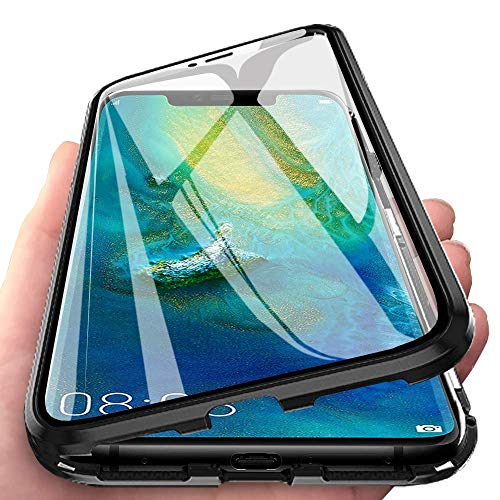 """Cover per Huawei Mate 20 Lite (6.3"""") Custodia Magnetica Adsorbimento Case Bumper Metallo Ultra Sottile 360 Gradi Full Body Anteriore e Posteriore Trasparente Vetro Temperato Protezione Cover,Nero"""
