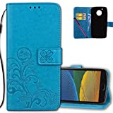Moto G (5th Gen) Wallet Case Leather COTDINFORCA Premium PU Embossed Design Magnetic Closure Protective Cover with Card Slots for Motorola Moto G5 (5.0 inch). Luck Clover Blue