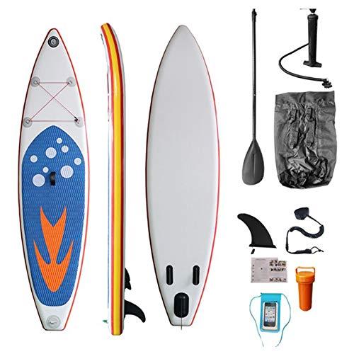 Stand Up Paddle Board Hinchable 305 Cm con Deck Antideslizante, Tablas Isup con Kit Completo, Remo Ajustable, Correa, Aleta, Bomba De Mano Y Mochila, Joven Y Adulto