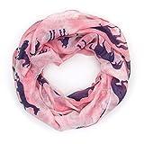MANUMAR Loop-Schal für Damen | Hals-Tuch in rosa blau mit Pferde Motiv als perfektes Herbst Winter...