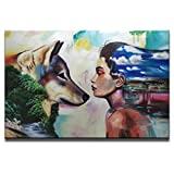 SHUAIDI Wall Arts Animal Modern 100% Hand Painted Oil Painting Person Animal Wolf and Girl Painting for Living Room Kids Room Decor (SD023, 32x48inch)