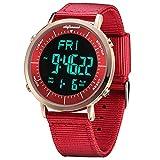 Relojes Digitales, Reloj Deportivo Digital Unisex para Hombres, Mujeres, niños (Rojo-1)