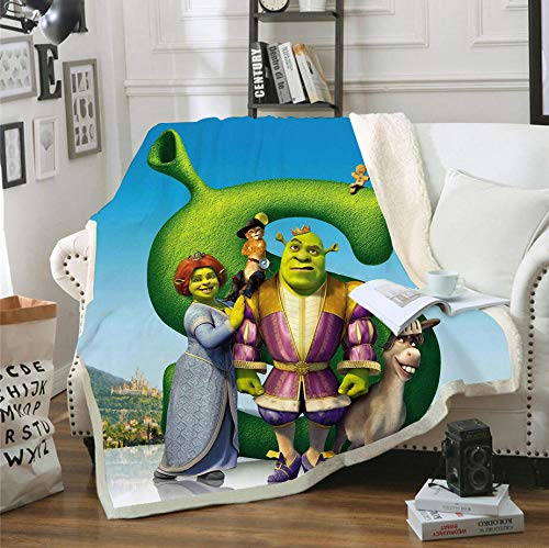 96Tdfc Printed Blanket Flannel Throw Blanket Ultra Soft Microfiber Blanket Shrek Printed Throw Blanket Printed Plush Cartoon Solid Blanket for Bed and Couch 130x100cm