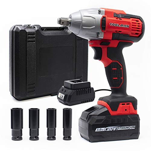 """Toolman 20V Max 2200RPM 480Nm 1/2"""" Cordless Impact Wrench with 4PC sockets (Battery Included) ZTP020"""
