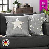LILENO HOME 1er Set Stern Kissenbezug in hellgrau (45x45 cm) - toller Stern Deko Kissen Bezug als...