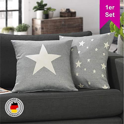 LILENO HOME 1er Set Stern Kissenbezug in hellgrau (45x45 cm) - toller Stern Deko Kissen Bezug als Sofakissen ins Wohnzimmer - Sterne Kissenhüllen für Kissenfüllung als Dekokissen