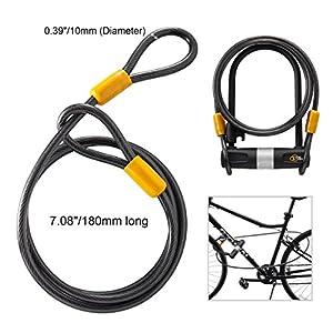 Via Velo–Soporte de resistente a la corrosión Candado en U con cable para bicicleta de 10mm x 180cm