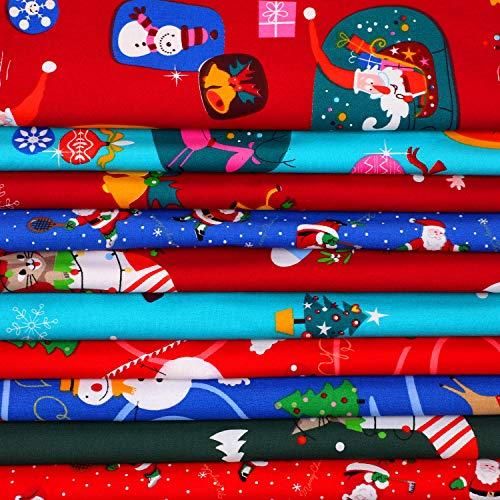 10 Pieces Christmas Fabric 18 x 22 Inch Christmas Cotton Fabric Bundles Sewing Squares Fabric Quilting Patchwork Christmas Tree Fat Quarters Precut Santa Claus Fabric Scraps for Christmas DIY Crafts