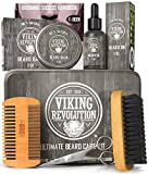 Viking Revolution Beard Care Kit for Men - Ultimate Beard Grooming Kit includes 100% Boar Men's Beard Brush, Wooden Beard Comb, Beard Balm, Beard Oil, Beard & Mustache Scissors in a Metal Box