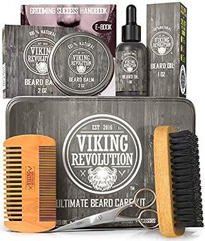 Viking Revolution Beard Care Kit for Men - Ultimate Beard Grooming Kit includes 100% Boar Men's Beard Brush Wooden Beard Comb Beard Balm Beard Oil Beard & Mustache Scissors in a Metal Box