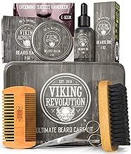 Viking Revolution Beard Care Kit for Men - Ultimate Beard Grooming Kit includes 100% Boar Men's Beard Brush, Wooden Beard Comb, Beard Balm, Beard Oil, Beard & Mustache Scissors in a Metal Box