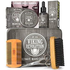 Viking Revolution Beard Care Kit for Men - Ultimate Beard Grooming Kit includes 100% Boar Men's Beard Brush, Wooden… 10