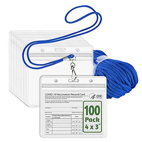 EcoEarth Lanyard w/ Horizontal Vaccine Card Protector (Blue, 4x3, 100 PK) Resealable Holders & Lanyards, Lanyard ID Card Holder Bulk, Name Badge Lanyard Set, Clear Plastic Badge Holder w/ Zipper