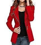 Women's Autumn Oversize Slim Fit Bodycon Zipper Suit Coat Jacket Blazer Outwear US 4-6 Red