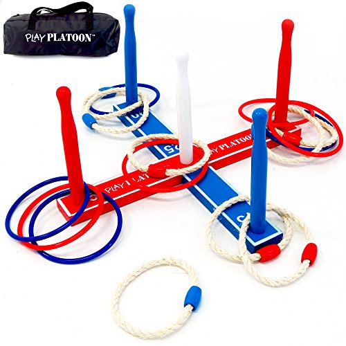 Play Platoon Ring Toss Game - Backyard Games for Kids - Includes 8 Rope & 8 Plastic Rings and Carry Bag