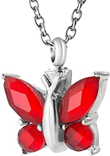 Cremation Urn Necklace Ash Jewelry Butterfly Memorial Keepsake Pendant Funeral Remains Locket