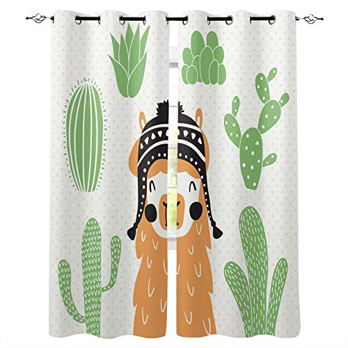 zpangg Verdunkelungsvorhang Cartoon Niedlichen Lama-Kaktus-Alpaka Ösen Mustern Blickdichte Kurze Gardinen Für Kinderzimmer Fenster 2Er Set Je 150×166Cm