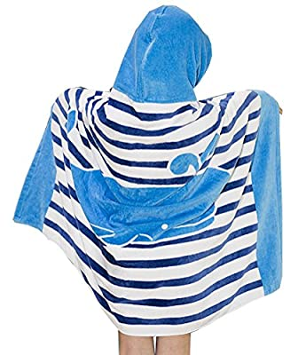 """Maleroads Boy and Girl's Terry Cloth Hooded Bath Towel Changing Bath Robe for Kids 30"""" x 50"""""""